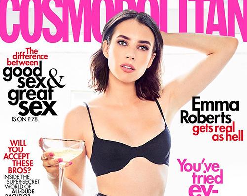 emma 1 Emma Roberts è mora sulla cover di Cosmopolitan