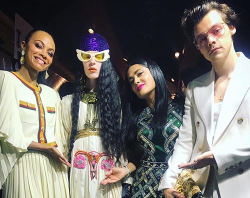 salma zoe harry Salma Hayek, Zoe Saldana e Harry Syles a Roma per Gucci