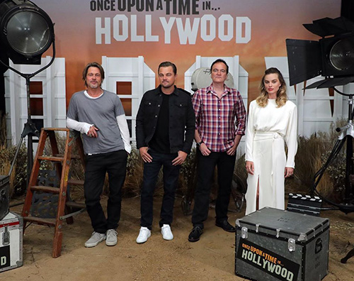once upon a time Brad, Leonardo e Margot, photo call con Quentin
