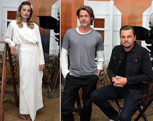 once upon Brad, Leonardo e Margot, photo call con Quentin