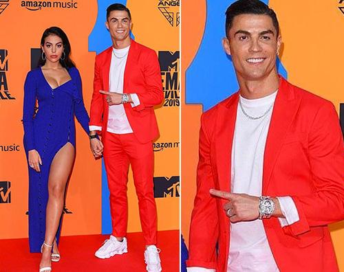 cr7 Cristiano Ronaldo agli MTV EMA 2019 con Georgina