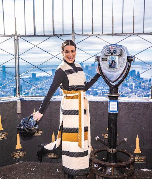 75208783 737111140143637 7085448349197837992 n Lea Michele in rosso al Rockefeller Center