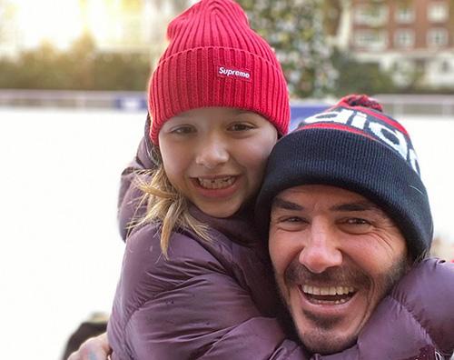 david beckham 2 David Beckham sulla pista di pattinaggio con Harper