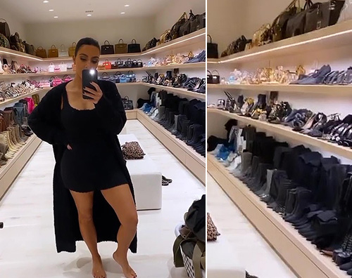 kim kardashian Kim Kardashian mostra la sua cabina armadi sui social