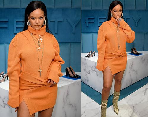rihanna Rihanna, look arancione per Fenty