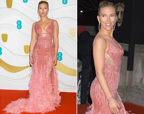 scarlett Scarlett Johansson in rosa ai BAFTA
