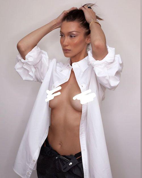 90042691 649817812228107 44411733772166413 n Bella Hadid in topless su Instagram