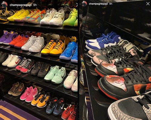 drake Drake mostra la sua collezione di sneakers su IG