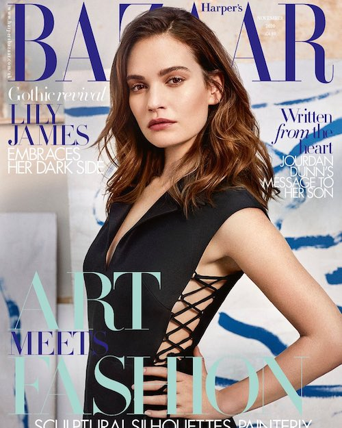 120454930 631271911086918 1909345660022289288 n Lily James star di Harpers Bazaar UK