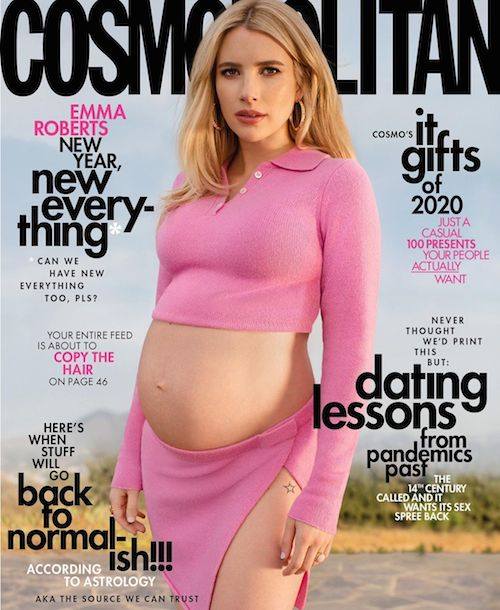 124627612 3667368556617884 2220086973612230680 n Emma Roberts mostra il pancino su Cosmopolitan