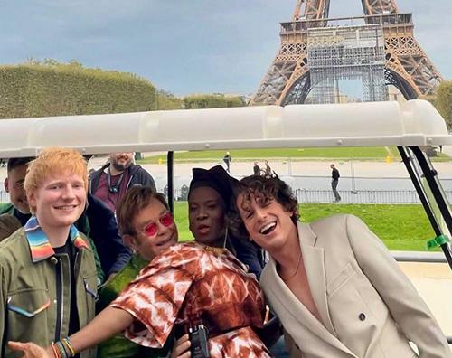 elton john Elton, Ed, Charlie e Angelique a Parigi per il Global Citizen Live